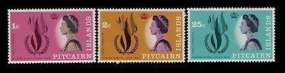 Pitcairn Islands 1968 Human Rights Flame SC# 88-90,Cpl.MNH set