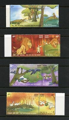 India 2001  #1920-3  fables stories rabbit lion snake monkey pairs    MNH  L310