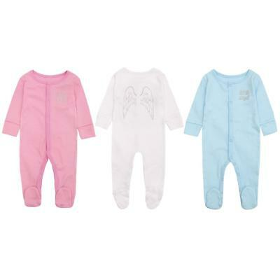 Baby Sleepsuit Shimmer Little Angel Wings Cotton Babygro Newborn to 6 Months