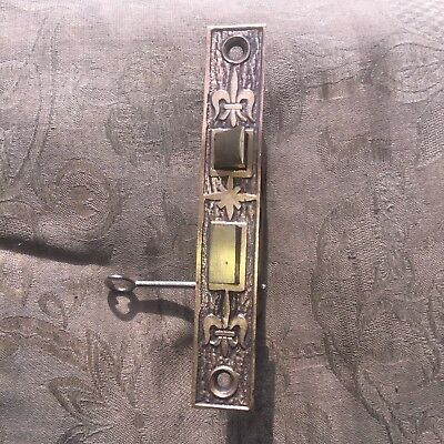 Antique M & W Co.  Door Mortise Lock Circa 1880's Fleur Di Lis Design #1