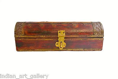 Decorative Wooden Box With Brass Fittings And Bone Work. i71-75