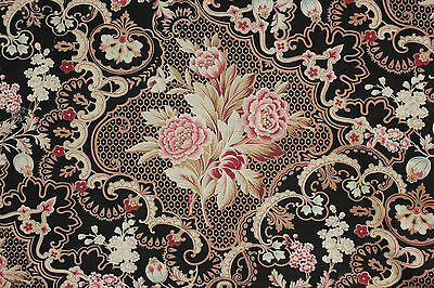 Antique French fabric Rococo block & roller print black