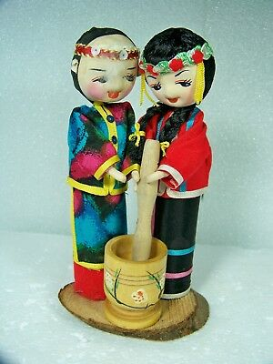 Vintage Asian Peg Dolls Chinese Man & Woman Couple With Grinding Bucket