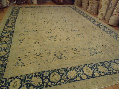 Antique Handmade Persian Tabriz Wool large Rug, size 13'x18' Cir 1920s, Blue