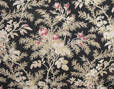 Lovely black ground antique French LONG curtain 19th century rose design printed