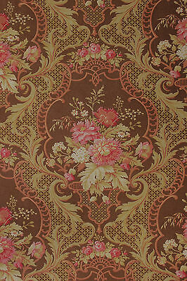 Antique French Rococo floral ~ brown ground large scale printed cotton c1890