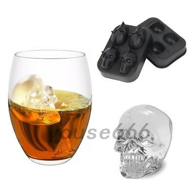 3D Skull Silicone Ice Cube Tray Cocktails Whisky Chocolate Jelly Mold Party