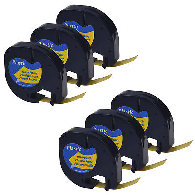 6 PK 12mm  Black on Yellow Plastic Label Tape for Dymo Letra Tag LT 91332 LT100H