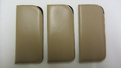 3X Light brown glasses cases, soft, spectacle, pouch, leather look, gift (R5)