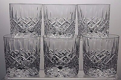 "STUART CRYSTAL ""SHAFTESBURY"" CUT WHISKY TUMBLERS/RUMMERS SET OF 6 - 3""(7.6 cm )"