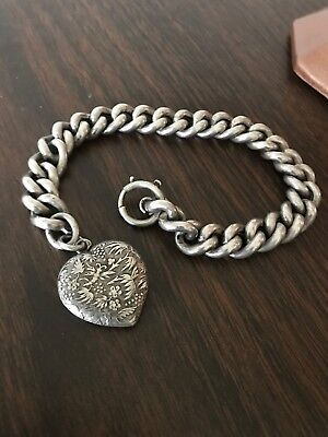 Antique Victorian Solid Silver Chunky Art Nouveau Puffy Heart Bracelet