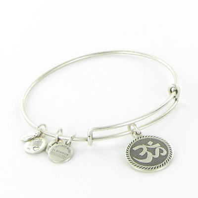 Alex And Ani Om Charm Bracelet Russian Silver Retired A09eb210rs New Card Box