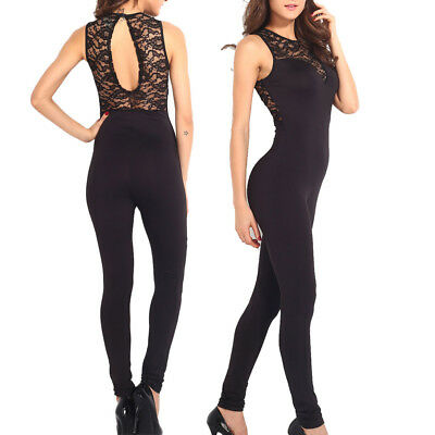 Tuta donna pizzo elegante jumpsuit party nera overall party rompers cocktail 9341fe2d1f6