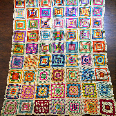 """Vintage Granny Square Crochet Afghan Throw Blanket Multicolored Pastel 71"""" x 51"""""""