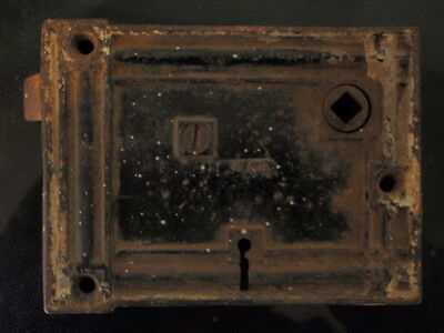 "Antique Mallory & Wheeler Door Lock Cast Iron Rectangle Shaped 4 1/2"" X 3 3/8"""