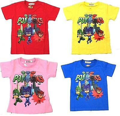 New Size 2~6 Kids T-Shirt Pj Masks Tops Tee Outfit Shirt Boys Girls Pyjamas Xmas
