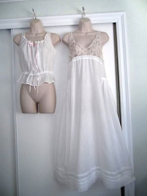 Antique Victorian White Nightgown & Jacket~Tatted Lace~Embroidery~Pleats
