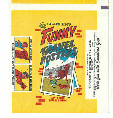 Scanlens - FUNNY TRAVEL POSTERS - Card Wrapper - 1971 - NO TEARS / RIPS