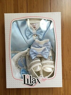 Lilax Style Baby Boy Collection Light Blue Silver Suit, Cap & Shoes 0-3 Months