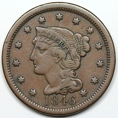 1846 Braided Hair Large Cent, Tall Date, VF detail
