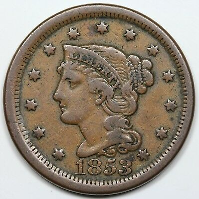1853 Braided Hair Large Cent, F