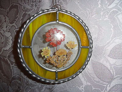 """Stained Glass Suncatcher With """"dried Flowers"""""""