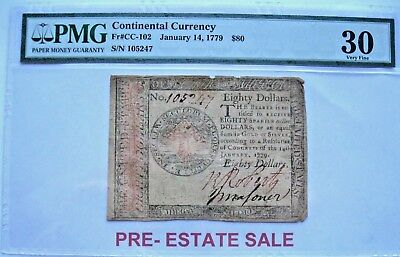 Continental Currency $80 January 14, 1779 S/N 105247 PMG VF30