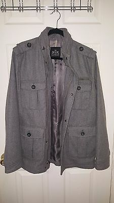 EXPRESS Men's Hooded Tweed Wool Military Coat Jacket, Size M, $270