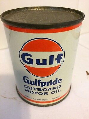 Gulf Gulfpride Outboard Motor Oil can vintage tin half pint full new unopened