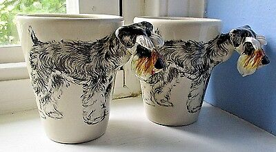 PAIR of Blue Witch SCHNAUZER Dog 3D 3 Dimensional POTTERY Coffee Mugs NEW