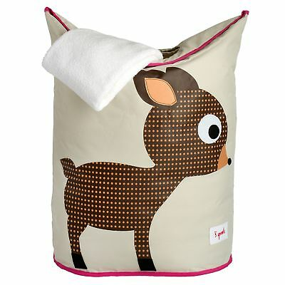 3 Sprouts Baby / Child / Kids Bedroom Laundry Hamper/Clothes Basket - Pink Deer