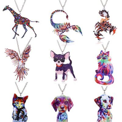 Cute Fashion Print Pattern Dog Cat Animals Pendant Necklace Women Jewelry Gift