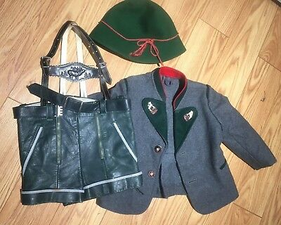 Vintage Boy's Authentic Leather Lederhosen with Hat and Jacket 2 - 3? Toddler