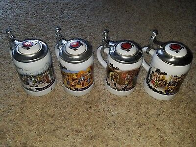 Stroh's Bavaria Collection Lidded Steins - COMPLETE SET - Limited Edition