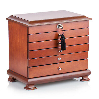 Luxury Wooden Jewellery Display Boxes High Gloss Watch Case Rings Storage Mirror