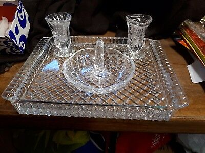 Lead Crystal Dressing Table Plate and accessories