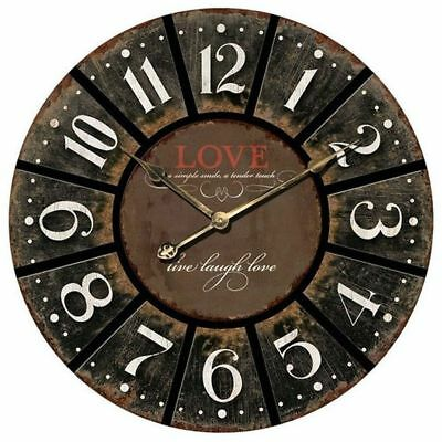 Large Wall Clock 60cm Hanging Wall Art Antique Round Carved Charcoal Love