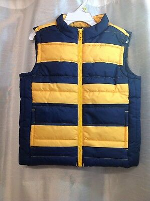 "Nwt ""gymboree"" Boy Puffy Vest Size 2T-3T  (Yellow/navy)"