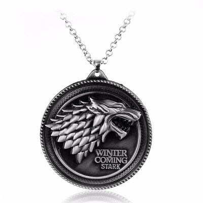 Game of Thrones Large Silver House Stark Necklace