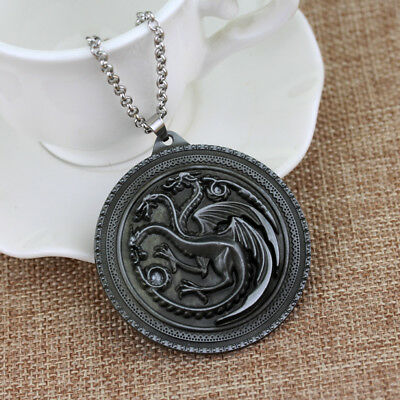Game of Thrones Large Silver House Targaryen Necklace