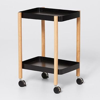 Drinks Trolley, Industrial Look, Home, Decor, Serving Trolley Black Timber