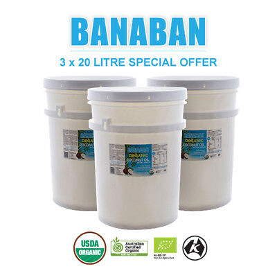 3 x 20 Litre BANABAN ORGANIC  Extra Virgin Coconut Oil (FREE SHIPPING)