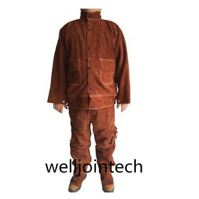 Leather Welding Brown Jacket Coat Trousers Protective Clothing Suit for Welder