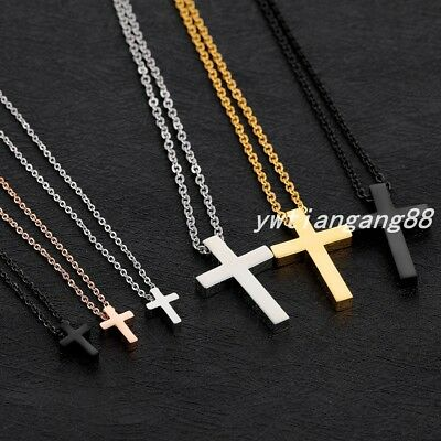 New Fashion Women Men's 316L Stainless Steel Cross Pendant Necklace Chain Gift