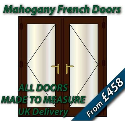 Mahogany uPVC French Doors - NEW - BRASS handles, GOLD spacer bars
