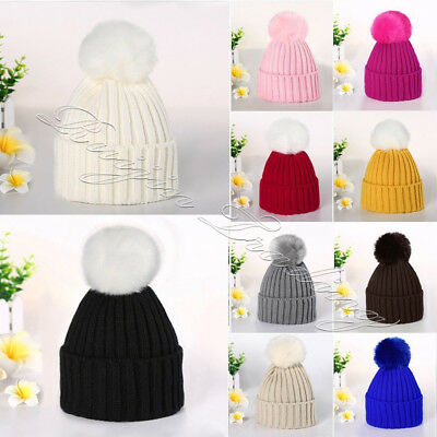Kids Toddler Children Warm Knit Beanie Hat Boys Girls Fur Pom Bobble Crochet Cap