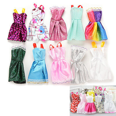 10PCS Handmade Party Clothes Fashion Dress Barbie Doll Mixed Charm Dresses
