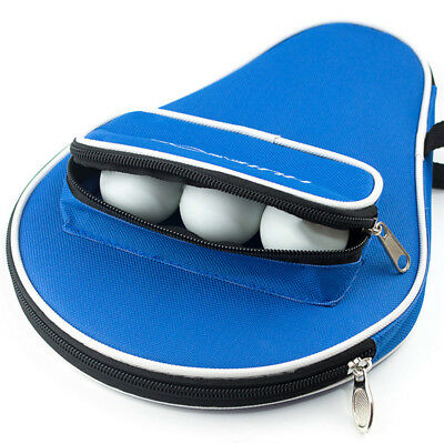 Waterproof Table Tennis Racket Ping Pong Paddle Bat W/ Outer Zipper Bag Cover