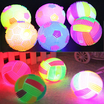 Durable LED Hedgehog Ball Flashing Sounding Light Up Bouncing Football Kid Toy