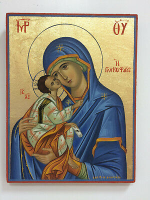 Our Lady Theotokos in blue - Hand painted Christian Orthodox Byzantine Icon 01